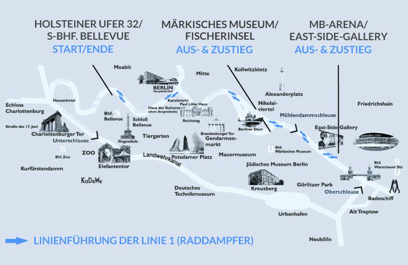 Dampferfahrt Berlin - Linienführung