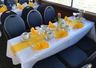 Tischdekoration - Ms La Belle - Schiff chartern Berlin
